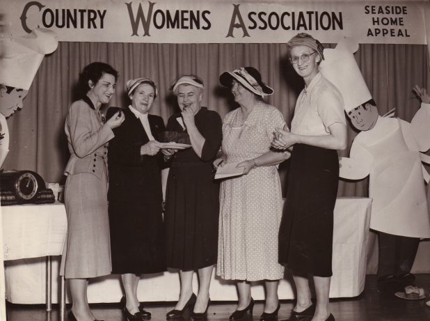 Judging at the very first Land Cookery competition - 1949