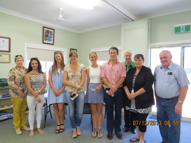 Margaret Barrett ( adjudicator & past recipient) Sky, Elizabeth, Sam, Sarah, Fergus, Self (convenor), Jessie Richardson (adjudicator & past recipient) Don Ramsland (Walgett Shire General Manager & adjudicator)